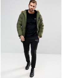 Nicce London Green Puffer Parka In Khaki With Faux Fur Hood for men