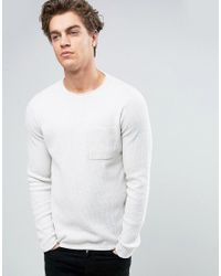 New Look - White Crew Neck Sweater In Ecru for Men - Lyst