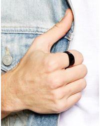 ASOS - Signet Ring In Matte Black for Men - Lyst