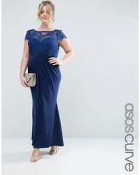 ASOS | Blue Wedding Pleated Maxi Dress With Lace Top | Lyst