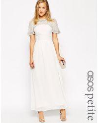 ASOS White Premium Princess Cluster Maxi Dress