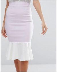 Vesper Purple Pencil Skirt With Peplum Hem