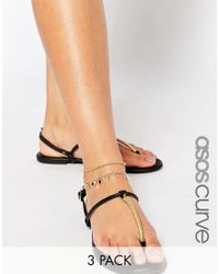 ASOS | Metallic Pack Of 3 Fine Chain Anklet | Lyst