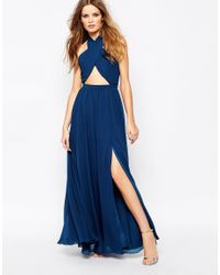 Fame & Partners - Blue Wired Cross Pleated Wrap Front Maxi Dress - Navy - Lyst