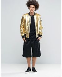 ASOS Metallic Bomber Jacket With Ma1 Pocket In Gold for men