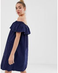 Monki Bardot-jurk in het Blue