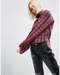 ASOS Red Cotton Check Shirt With Extreme Cuffs