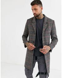 Пальто В Ломаную Клетку -коричневый Topman для него, цвет: Brown