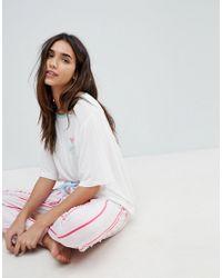 Chelsea Peers - Pink Cheslea Peers Stripped Novelty Long Pajama Set - Lyst