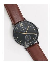 Topman Brown Leather Chronograph Watch for men