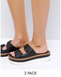 ASOS | Metallic Pack Of 2 Chevron Tie Anklet | Lyst