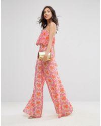 ASOS Pink Jumpsuit In Crinkle With Wide Leg In Halter Neck In Brocade Print