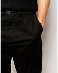 ASOS Black Drop Crotch Chinos for men
