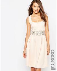 ASOS | Blue Debutante Embellished Trim Full Midi Dress | Lyst