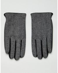 Gants en cuir pour écran tactile à détail chevron ASOS pour homme en coloris Black