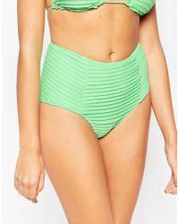 ASOS Mix And Match Pleated High Waist Bikini Bottom - Freeze Green