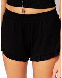 ASOS - Black Jersey Shorts With Ruffle Hem - Lyst