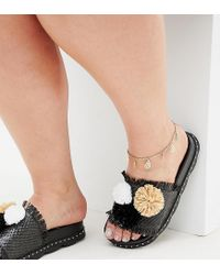 ASOS - Metallic Asos Design Curve Anklet With Filigree Charms In Gold - Lyst