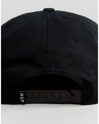 Huf - Black Unstructured Snapback Cap With Embroidered Logo for Men - Lyst