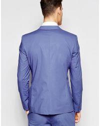 ASOS Skinny Suit Jacket In Blue Poplin for men