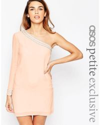 ASOS | Pink Petite One Shoulder Dress With Embellished Detail | Lyst