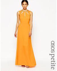 ASOS Keyhole Multi Gold Bar Maxi Dress - Orange