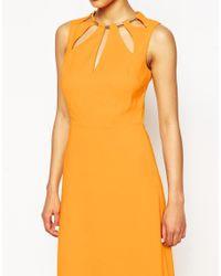ASOS | Keyhole Multi Gold Bar Maxi Dress - Orange | Lyst