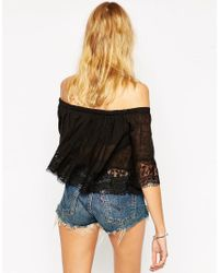 ASOS Black Gypsy Top With Off Shoulder And Lace Trim