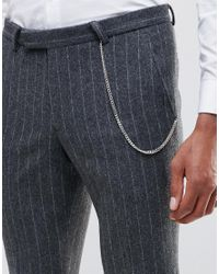Noose And Monkey Black Super Skinny Pants In Pinstripe With Turn Up for men