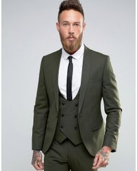 Noose And Monkey Green Super Skinny Suit Jacket With Stretch for men