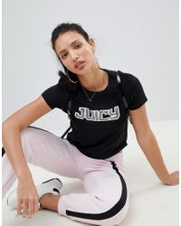 Juicy Couture - Black Juicy By T-shirt With Diamante Logo - Lyst