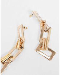 Золотистые Серьги-подвески С Квадратными Звеньями ASOS, цвет: Metallic