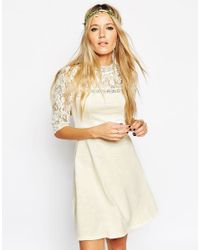 ASOS - Natural Skater Dress With High Neck And Mixed Lace Inserts - Lyst