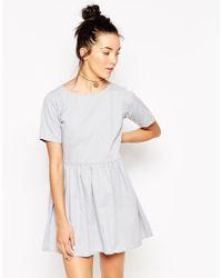 Motel - Gray Penny Babydoll Dress In Grey Wash Denim - Lyst