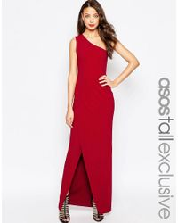 ASOS | Black Red Carpet One Shoulder Maxi Dress | Lyst