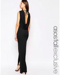 ASOS | Black Tall Sleeveless Cowl Back Maxi Dress | Lyst