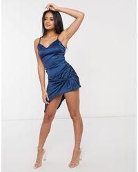 Атласное Облегающее Платье Темно-синего Цвета -темно-синий Naanaa, цвет: Blue