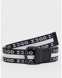 Gian-L - Cintura con logo nera e bianca di HUGO in Black da Uomo