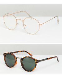 ASOS - Metallic Design Round Sunglasses 2pk In Gold & Tort Save for Men - Lyst