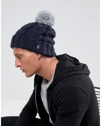 French Connection | Blue Cable Knit Contrast Bobble Beanie for Men | Lyst