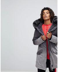 af3de0c21d25a Sixth June. Men s Black Parka Jacket In Grey Faux Suede With Oversized Faux  Fur Hood