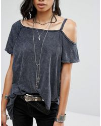 Free People Gray Coraline Tee
