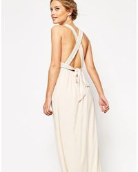 ASOS - Natural Wedding Ruched Double Strap Maxi Dress - Lyst