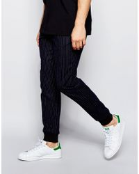 ASOS - Blue Slim Smart Joggers In Chalk Stripe for Men - Lyst