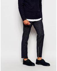 ASOS Blue Slim Smart Trousers In Herringbone With Zips for men