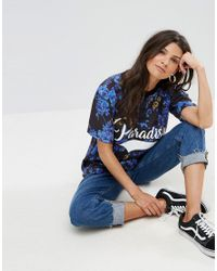 ASOS - Blue Super Oversized Button Neck T-shirt With Paradise Print - Lyst