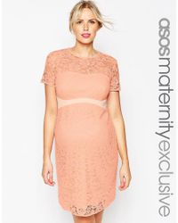 ASOS | Lace Bodycon Dress With Contrast Waistband - Blue | Lyst