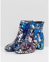 ASOS Blue Asos Rainbow Sequin Ankle Boots