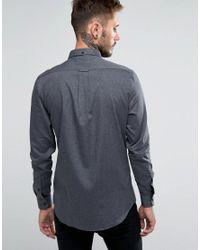 Farah - Gray Shirt With Herringbone Weave In Slim Fit for Men - Lyst