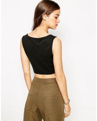 Daisy Street | Black Crop Top With Cut Out Neckline | Lyst